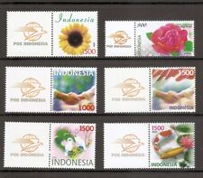 Indonesia SC # 2045-2049 Birds, Flowers, Handshake and flag , Fish  . MNH