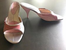 Cole Haan Lab G Series Suede Pink White Slides Heels Sandals Size 8 B EUC