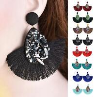 Women Tassel Earrings Bohemian Statement Fringe Long Round Earrings Jewelry Hot
