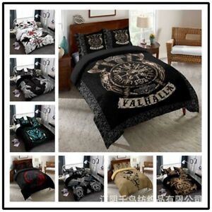 Vikings Myth Symbol Pattern Duvet Cover 3 Pieces Bedding Set Pillowcase All Size