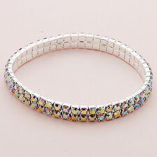 Silver Tone 2 Row AB (Aurora Borealis) Crystal Diamante Stretchy Bracelet