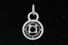 14k White Gold .58ct Round White & Black Diamond Halo Semi-Mount Pendant