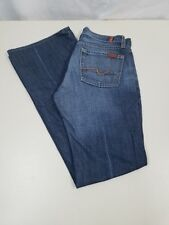 7 FOR ALL MANKIND Women's Flare Dark Wash Low Rise Lightly Distressed Sz 26