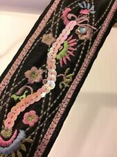 BELT Black Pink Sequin Satin Fashion Wrap Hip Skirt Holiday Women Medium M NEW