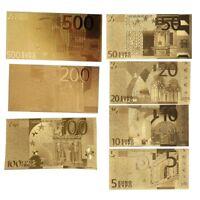 1 Set of Gold Foil Euros Banknote Arts Gifts Gedenkmünzen €500/200/100/50/20/10~