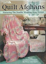QUILT AFGHANS 3 Designs Crochet Leisure Arts #2263 Double Wedding Ring OOP RARE