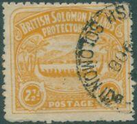 Solomon Islands 1907 SG4 2½d orange-yellow Canoe FU