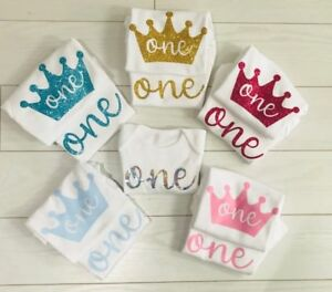 Boys Girls First 1st Birthday T-Shirt Top Cake Smash Outfit Vest Photo Shoot