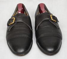 CAPORICCI Men's Italy Black Leather Monk Strap Cap Toe Buckle Dress Shoes US 10M