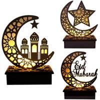 LED Wooden Eid Mubarak Plaque Moon Star Ramadan Ornament Muslim Decor Pendan RC#