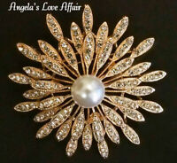 VINTAGE STYLE LARGE ROSE GOLD FAUX PEARL CRYSTAL FLOWER STARBURST BROOCH PIN