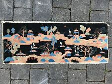 "Chinese Art Deco Rug. Village scene. Circa 1930. 38"" by 15"""