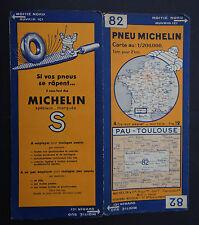 Carte MICHELIN n°82 old map PAU TOULOUSE AUCH 1933 Bibendum pneu tyre
