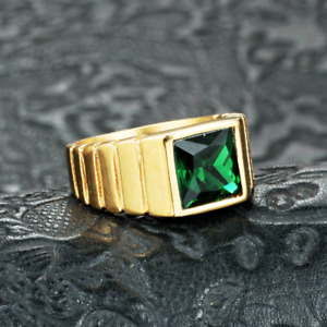 Men's Gold Plated Wedding Rings Stainless Steel Emerald Signet Ring Biker Punk