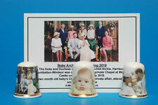 Baby Archie's Christening 2019 Box Set of 3 China Thimbles  + Card B/71