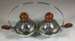 "Navajo Sterling Silver Genuine Amber Double Salt Cellar & Spoons 5 Pc Set 5.00"""