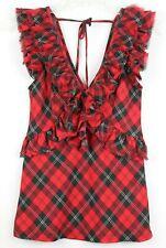 Ralph Lauren Denim & Supply Womens Ruffle Semi-Sheer Top Size  M Red GUC #16990