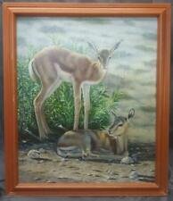 Oil Painting Vintage Americana Landscape Winter Snow Deer Fawn Animals Nature
