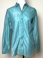 Burberry Brit Button Down Shirt Womens Medium Light Green Sheer Glimmer Top New