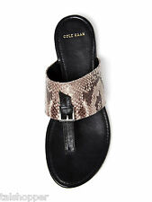 NEW 7 COLE HAAN $158 LINDEN Black Leather Dress Sandals Thong Shoes Snake Print