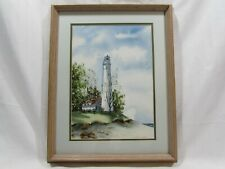 Sue Wolff Original Lighthouse Watercolor Painting Racine Wisconsin Framed Art