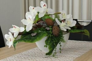 Tischgesteck Blumengesteck Kunstgesteck Tischdeko Gesteck Orchideen Kokos 60cm