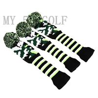 3pcs Pom Pom Knit Cover Golf Headcover Driver Fairway 3#5# Wood for Taylormade
