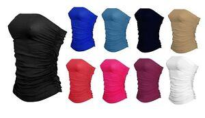 Womens Boobtube Bandeau Strapless Top Ladies Ruched Crop Bra Top Sleeveless 8-26