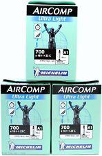 3 (Three) Michelin AirComp Ultra-Light 700x18/23 40mm Presta Road Bike Tubes