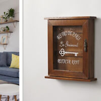 Wall Mounted Wooden Key Holder Cabinet Storage Box with 6 Hooks Brown