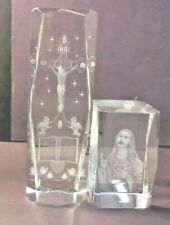 Jesus on Cross Crucifix Laser 3D Engraved Crystal Paperweight & 2nd Paperweight