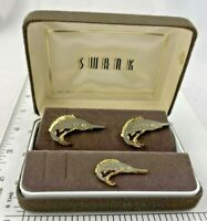 Mid Century VINTAGE JEWELRY CUFF LINKS SWANK SWORDFISH  Fish GOLD TONE