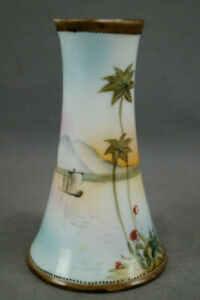 Nippon Hand Painted Maritime Scene & Palm Trees Beaded Hat Pin Holder