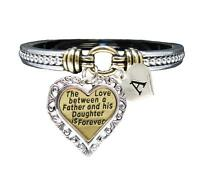 Custom Love Between Father & Daughter is Forever Silver Gold Bracelet Jewelry