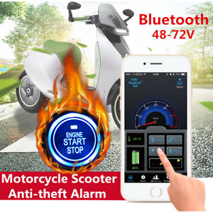 One-button Engine Start Motorcycle Anti-theft Alarm Security System BT GPS Navi