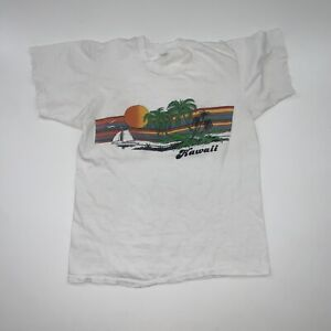 Vintage 80s Hawaii T-Shirt Size Adult S/M White