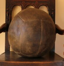 Vintage Large Brown Leather Football Medicine Ball. Antique Gym Ball. Footstool