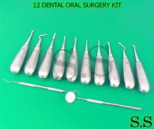 12 Dental Oral Surgery Kit Surgical Instruments Forceps Elevators