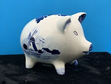 Vtg Delft Blue Hand-Painted Windmill Floral Design Piggy Bank EUC Free Shipping