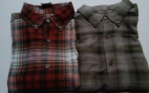 Wolverine  Lot Of 2  Plaid Shirts  Men's Large   Rust, Green&Brown   L/S  NWT