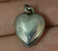 Antique Solid Silver Puff Heart Charm Pendant