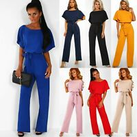Women Short Sleeve Jumpsuit Playsuit Rompers Party Evening Wide Leg Palazzo Pant
