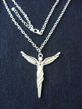 "A Guardian, North Angel, Cross Charm Pendant 45x50mm, 20"" Metal Chain Necklace"