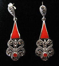 Ohrhänger, 925 Silber, Koralle (dreieckig u. rund) u. Markasiten,.gestempelt