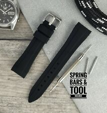 Black 20mm Curved End Silicone Rubber Watch Strap | Designed for Rolex, Omega