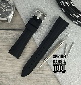 Black 20mm Curved End Silicone Rubber Watch Strap   Designed for Rolex, Omega