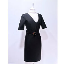 Gucci | Fitted & Belted Black Pencil Dress Short Sleeved