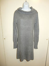 BCBG MAX AZRIA WOOL BLEND GRAY DRESS COWL NECK LONG SLEEVES 2 POCKETS SWEATER S