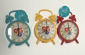Pioneer Woman Springtime Metal Clock Set 3pc Teal Yellow & Red*New*