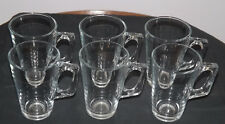 6 Pasabahce Irish Coffee Lattes Cappuccinos Hot Chocolate Glass Handled Mugs